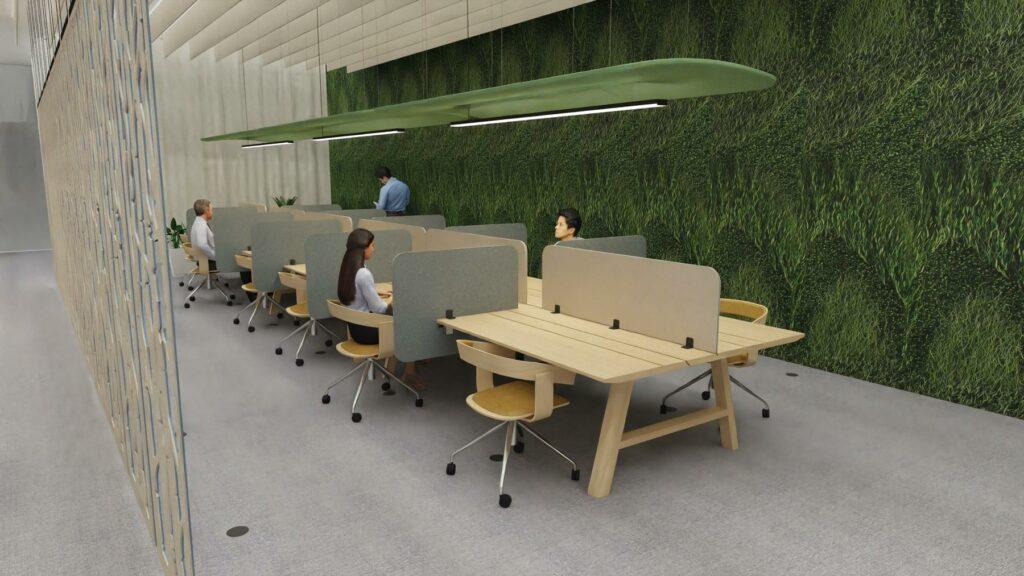 bureau bench avec cloisons acoustiques frontales et laterales